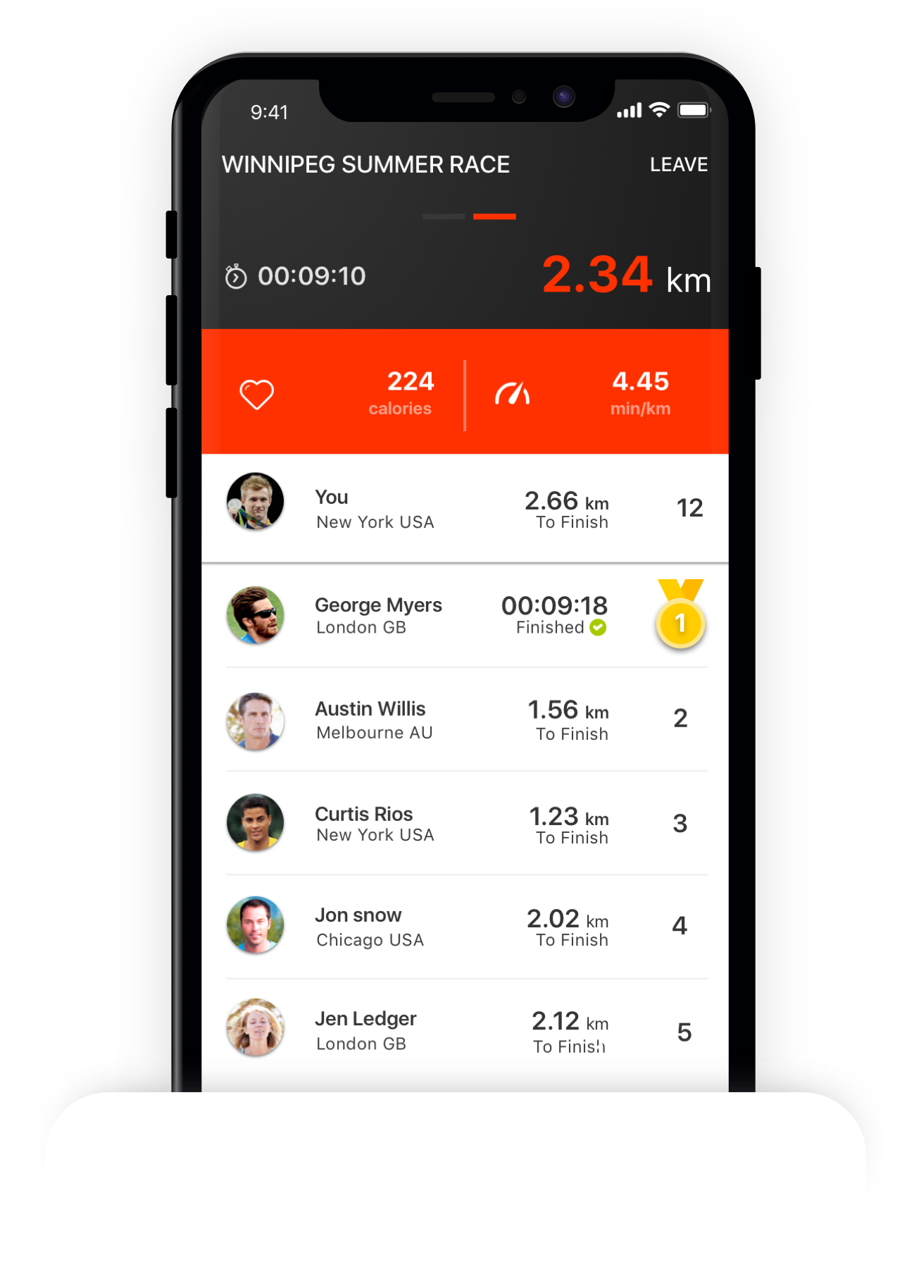 Features   First Virtual Race App